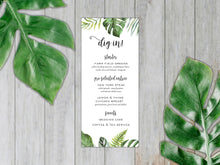 Load image into Gallery viewer, Tropical Leaves Dinner Menu