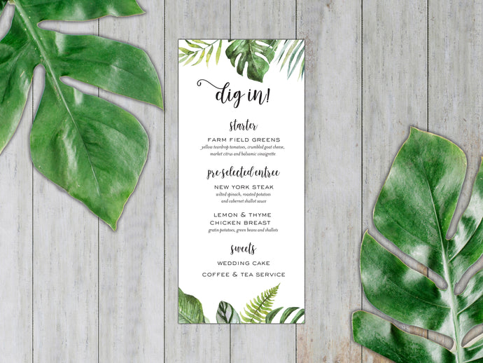Tropical Leaves Dinner Menu