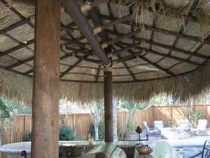 2 Post Oval Palapa Umbrella Kit 12' x 18' - Palapa Umbrella Thatch Company Online