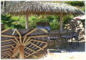 2 Post Oval Palapa Umbrella Kit 12' x 20' - Palapa Umbrella Thatch Company Online