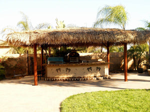 "Mexican Palm Tiki Thatch Runner Roof Roll 30""x 30' - Palapa Umbrella Thatch Company Online"