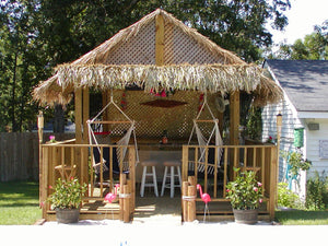 "Mexican Palm Tiki Thatch Runner Roof Roll 55""x 60' - Palapa Umbrella Thatch Company Online"