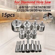Load image into Gallery viewer, 15pcs Diamond Coated Drill Bit Set