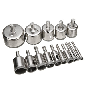 15pcs Diamond Coated Drill Bit Set