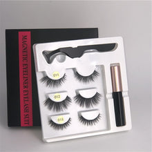 Load image into Gallery viewer, 3 pairs of magnetic eyelashes + liquid eyeliner + tweezers, waterproof