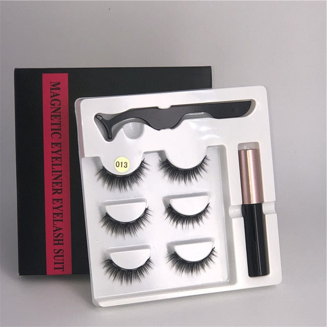 3 pairs of magnetic eyelashes + liquid eyeliner + tweezers, waterproof
