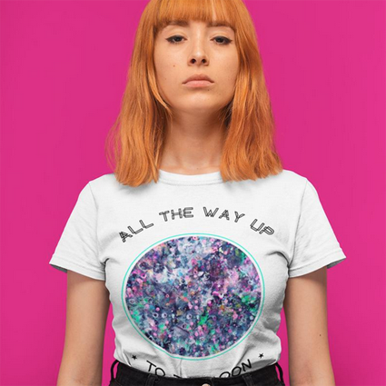 All the way up to the moon cool women print tee