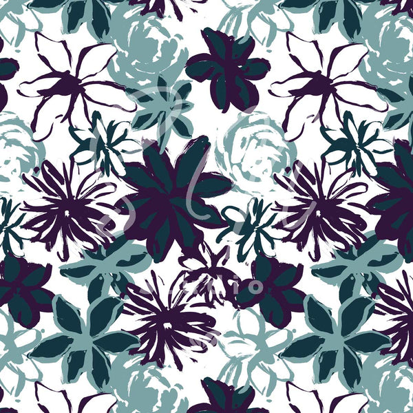 Brushstroke Flowers is a hand painted seamless pattern