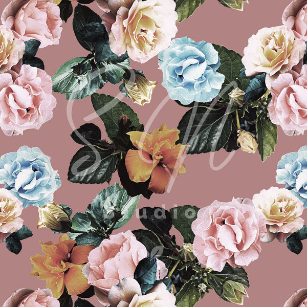 Colorful garden photos of roses formed as a pattern