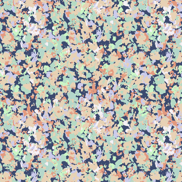 Neutral Pastel Camo Ditsyflower surface pattern design for womens wear