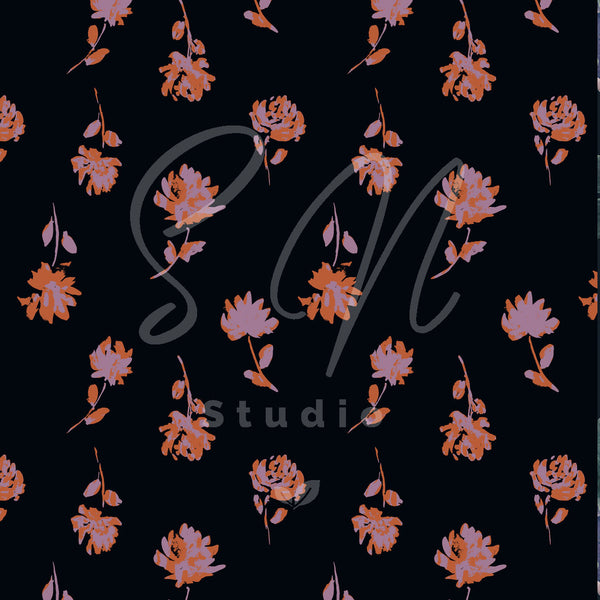 Floating Painted Flowers on black surface pattern design