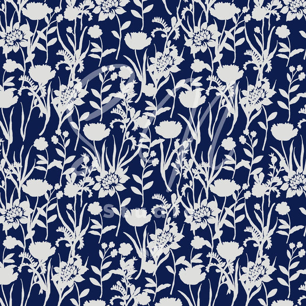 Blue and grey Silhouette Flowerfield pattern design
