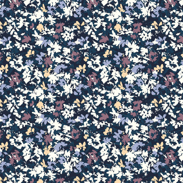 Fractured Flowers purple and blue tone surface design