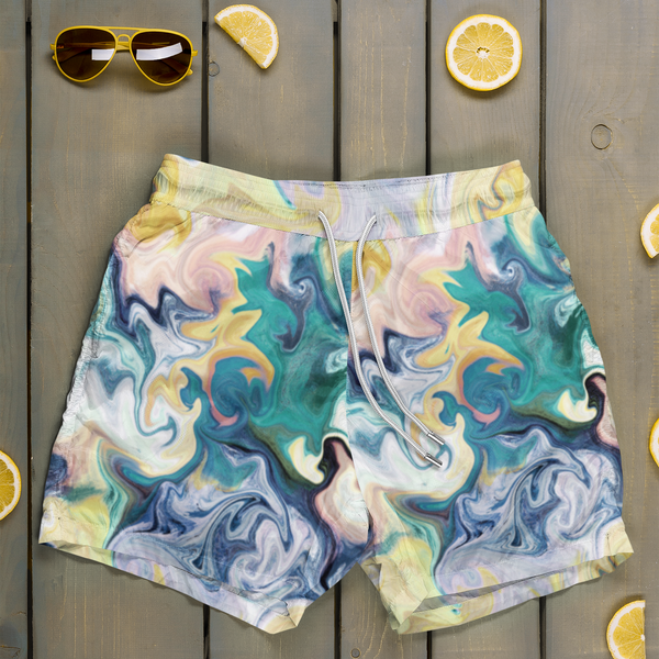 Greenmorning Marble surface pattern design on board shorts
