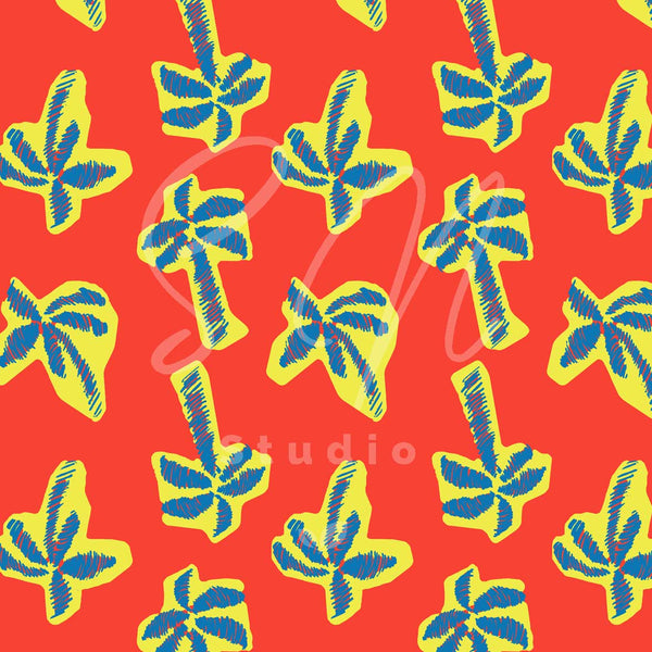 Palms on a red surface this prin available for licensing
