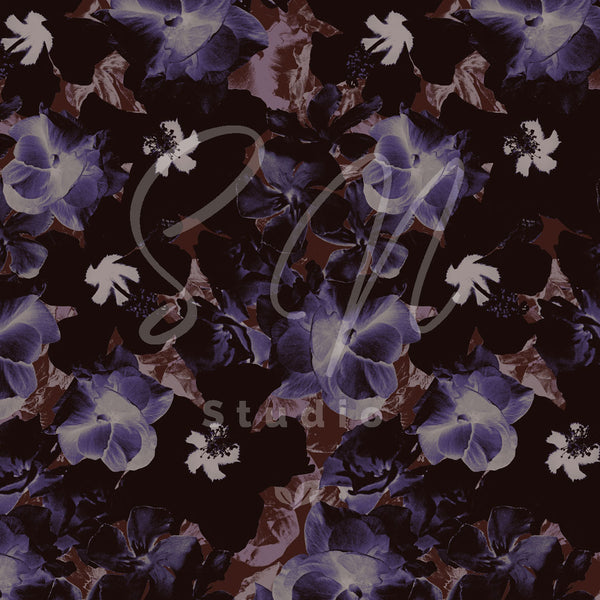 Purple flowers of tropical flowers a s surface pattern design