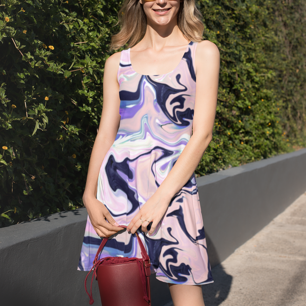 Purple Marbling surface pattern design on a womn dress available for licensing