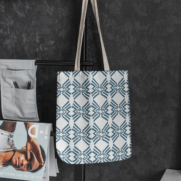 Scandi Triangles on a tote bag available for licensing at Patternbank