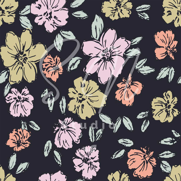 Summery hand drawn flowers  surface design for app background