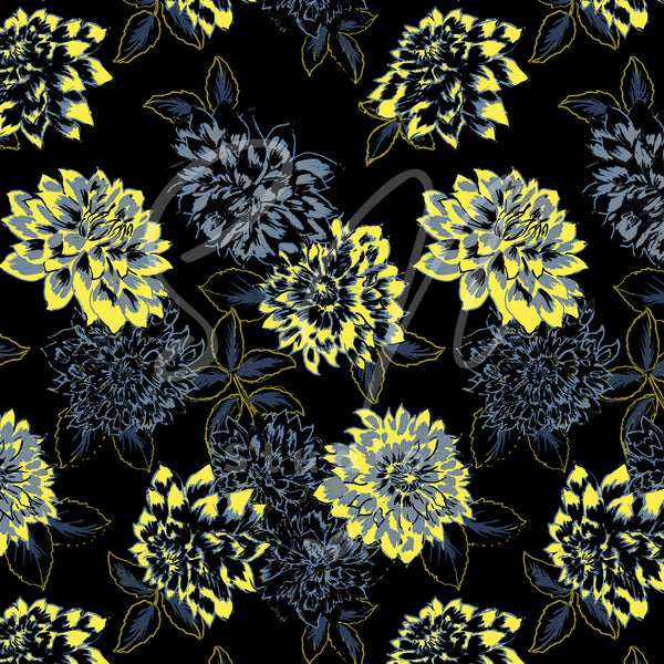 Trendy yellow hand drawn flowers as a surface design