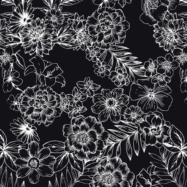 Tropical hand drawn Flowers on black surface