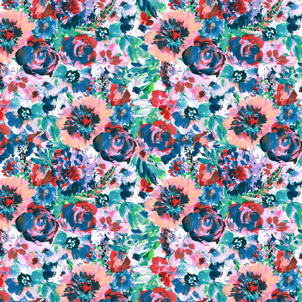 Tropical Flower Paradise multicolor surface pattern design for licensing