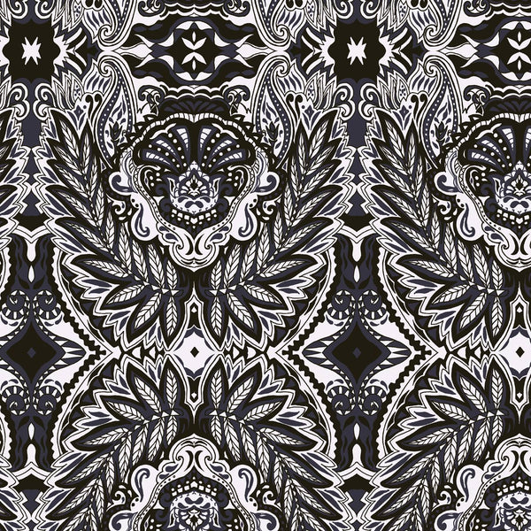 Paisley boho black and white silhouette surface design