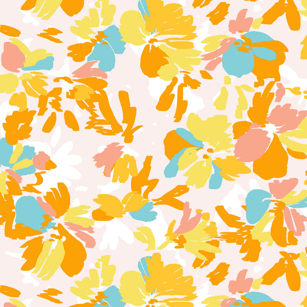 Yellow Playful Bright Flowers surface pattern design for licensing