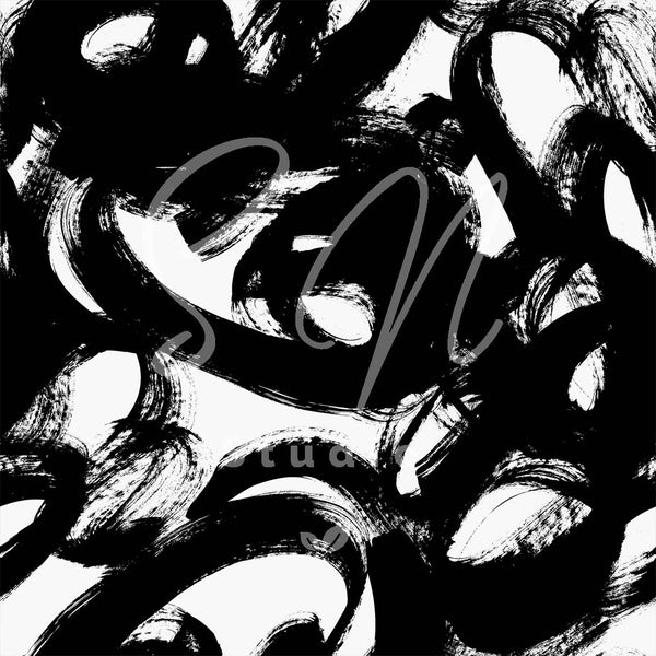 Doodle Big Marks black and white painted surface