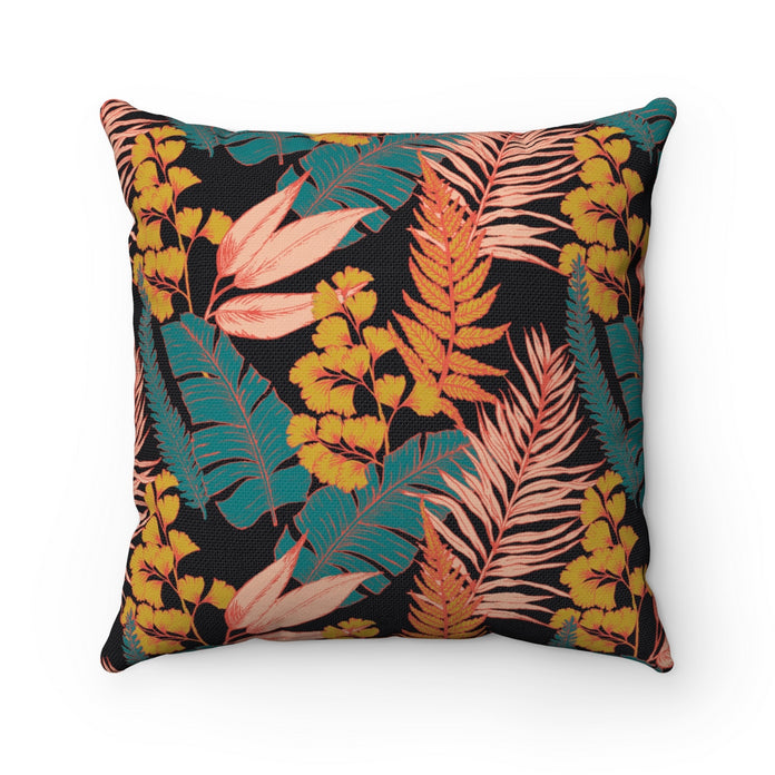 Example of throw pillow with 90s vibe vintage tropical print