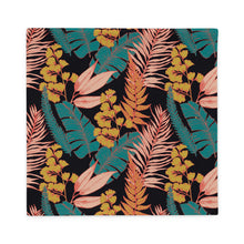 Load image into Gallery viewer, 22×22 inch throw pillow case with 90s vibe tropical print from front
