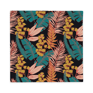22×22 inch throw pillow case with 90s vibe tropical print from front