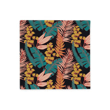 Load image into Gallery viewer, Square throw pillow case with 90s vibe vintage tropical print