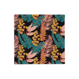 Square throw pillow case with 90s vibe vintage tropical print