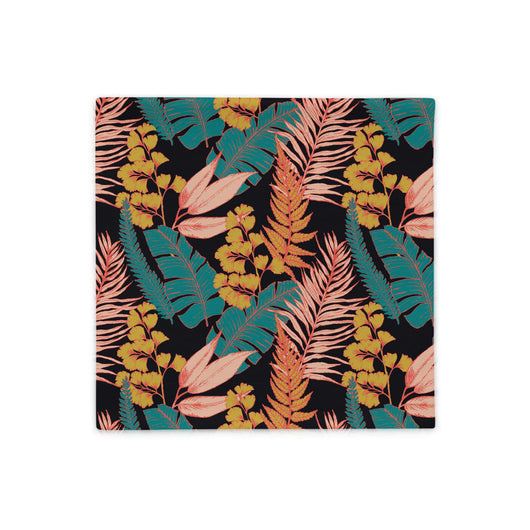 Throw pillow case with 90s vibe vintage tropical print