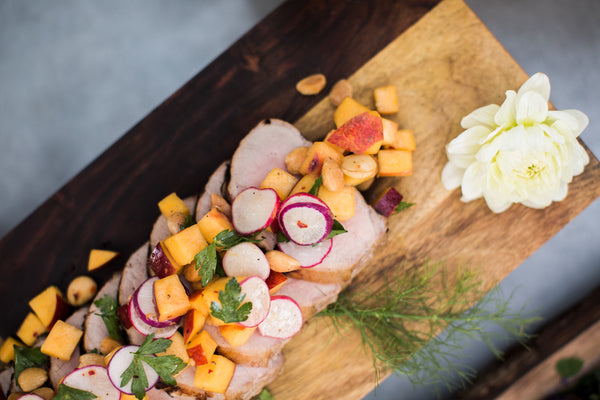 Pork tenderloin and roasted vegetables - The Cheese School catering