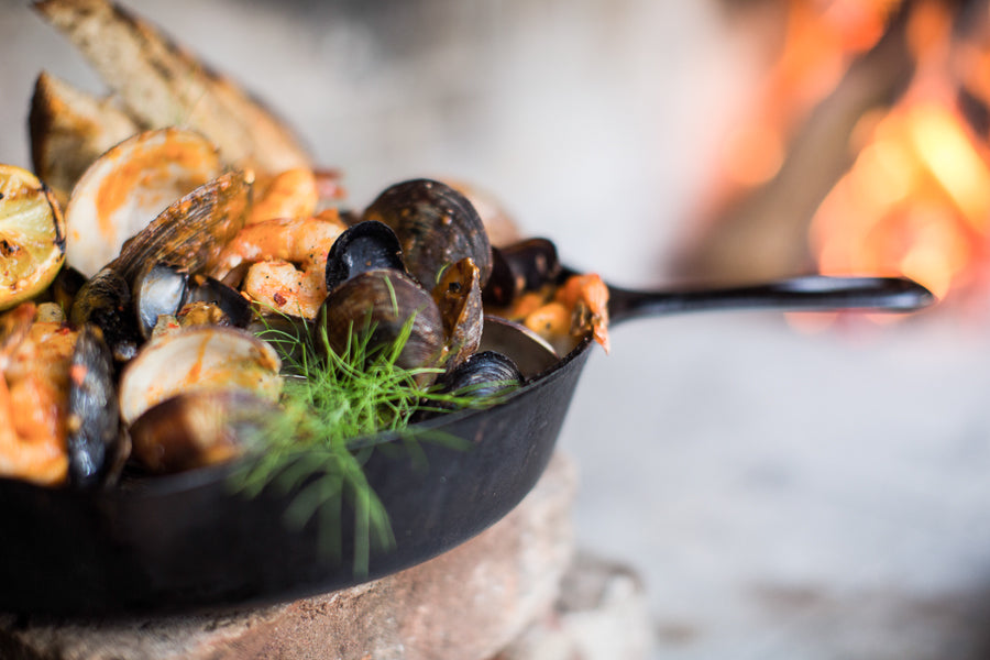 Cioppino<br/>Served warm from the hearth<br/>photo by Britt Rene Photo