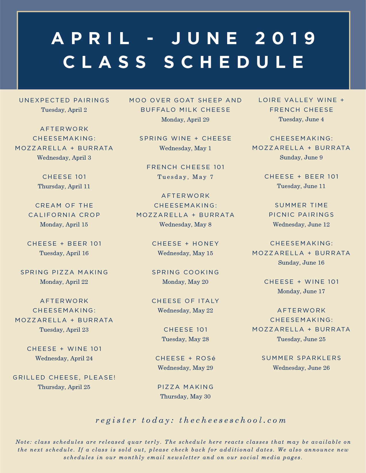 picture about Class Schedule Printable named Cl Timetable - The Cheese College or university of San Francisco