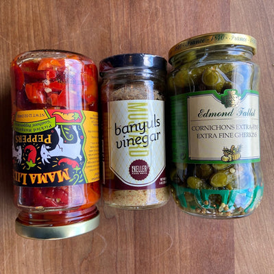 Sandwich Essentials: Pickled Peppers, Cornichorns, Banyuls Vinegar Mustard