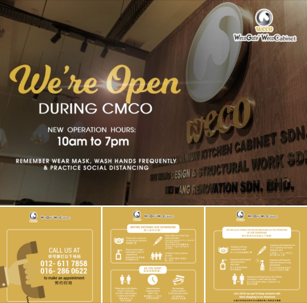 😇 Yes, you can still visit our showroom during the CMCO by making an appointment in advance, however, please noted that our business hours will be 10am to 7pm daily.