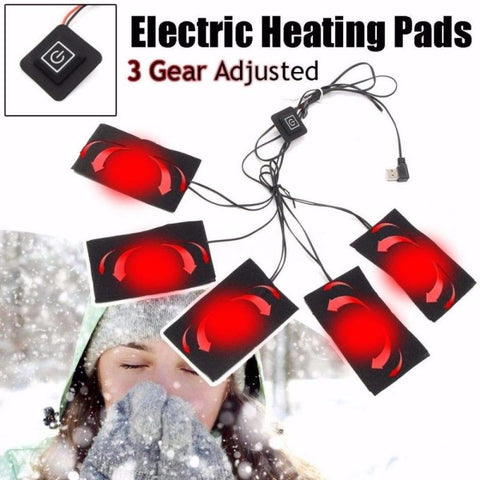 USB Charged Clothes Heating Pad 5V Electric Heating Sheet With 3 Gear Adjustable Temperature Heating Warmer Pad For Vest Jacket