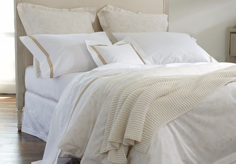 Egyptian cotton quality bedding is highly sought after and applauded for its smooth hand and ultimate in comfort. Designers Matouk, Sferra, Peacock Alley, Home Treasures, and Traditions Linens incorporate these fine Egyptian fibers into their bedding.