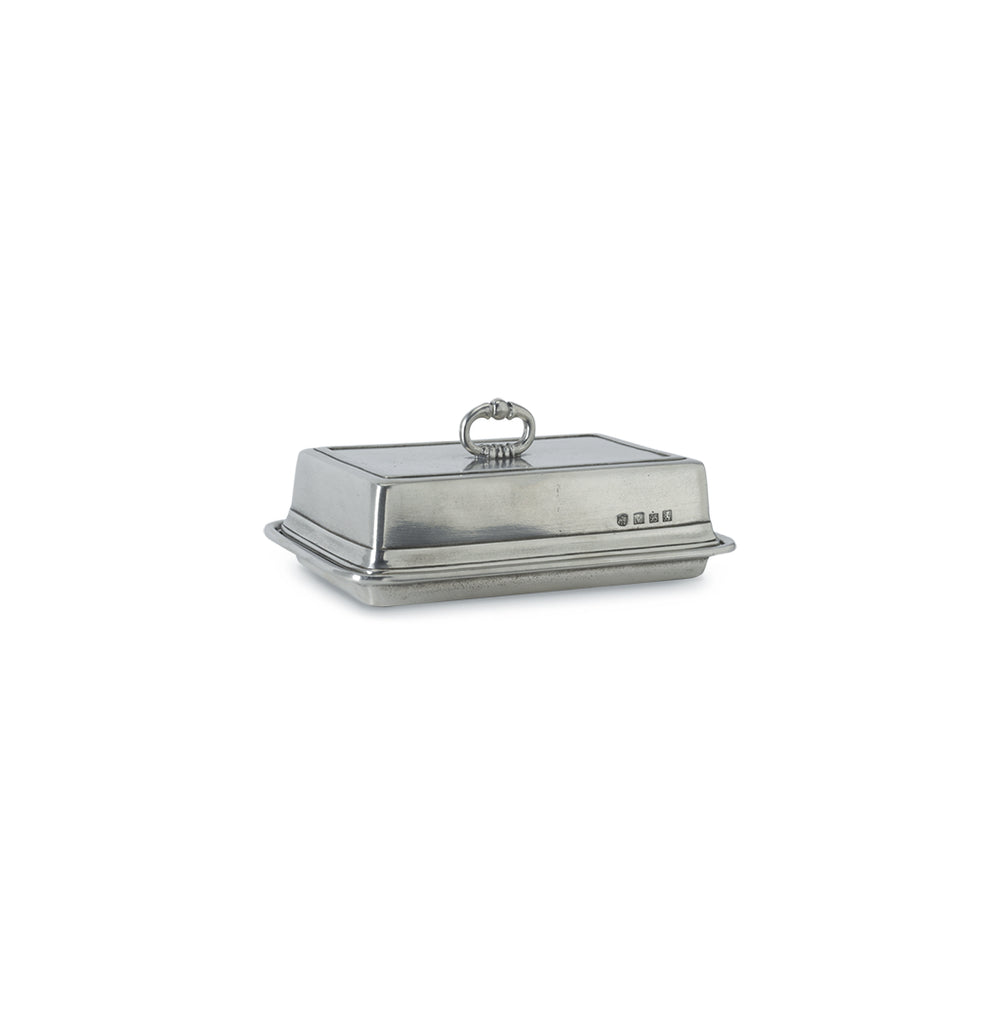 Match Pewter Covered Butter Dish, Single and Double