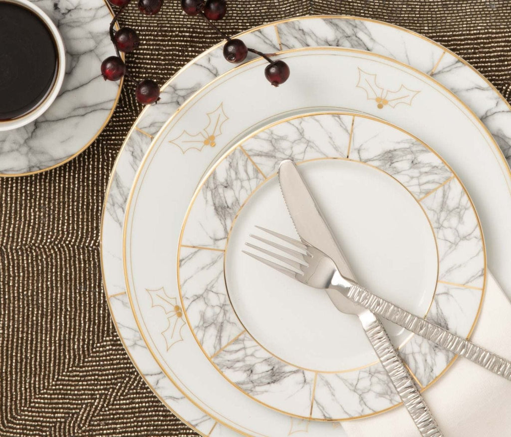 Hannah Gold Trim and Holly Decor Dinnerware Collection