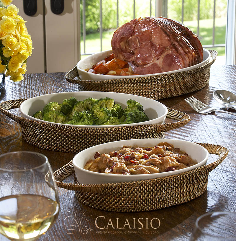 Calaisio Oval Baker with Wrapped Handles and Pillivuyt Casserole Dishes