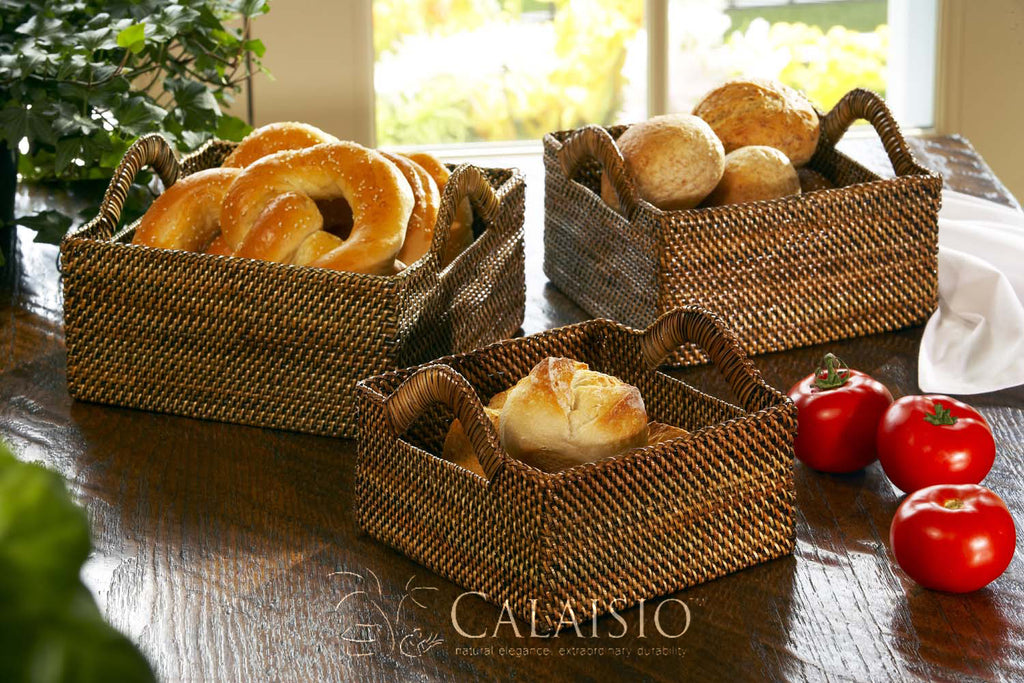 Calaisio Woven Square Breadbasket with Handles