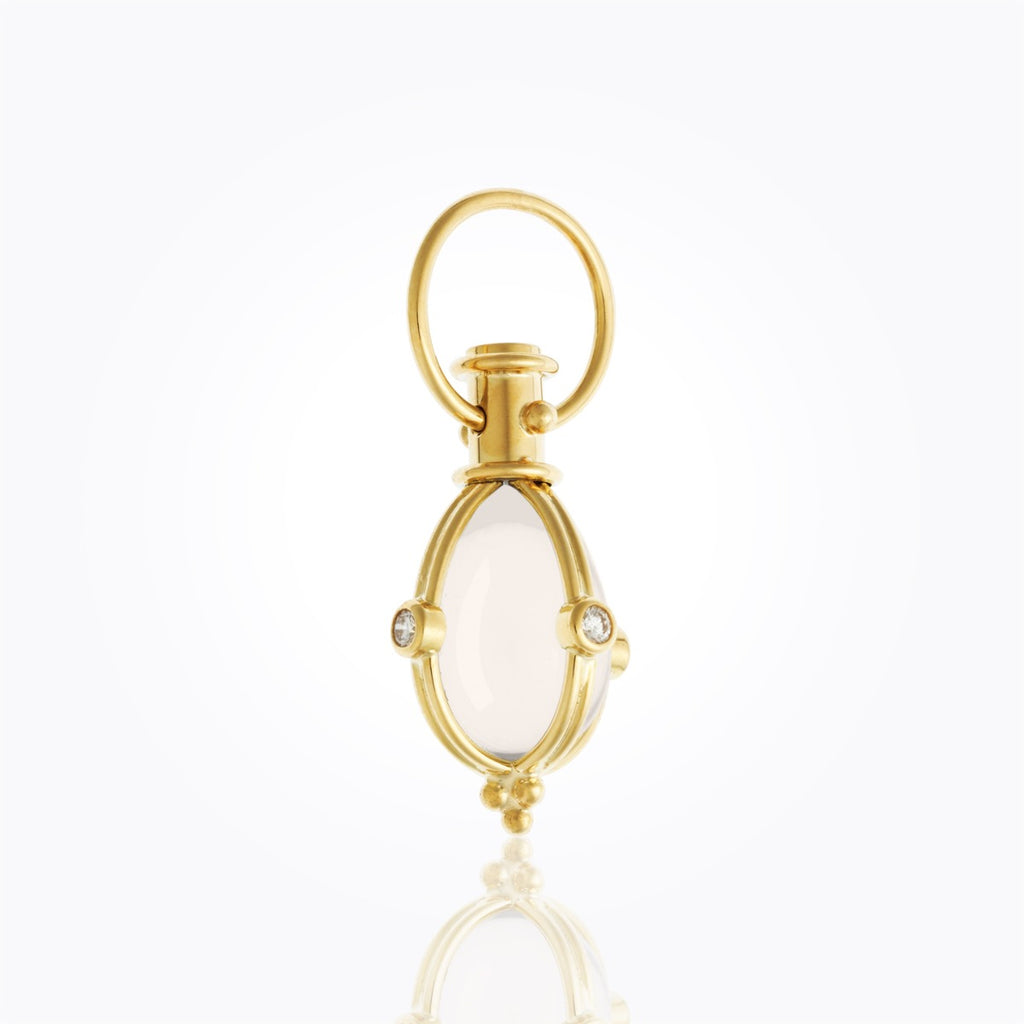 Temple St Clair 18K Classic Amulet with oval rock crystal and diamond