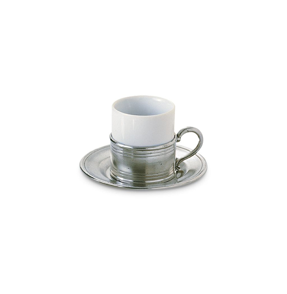 Match Pewter Espresso Cup with Pewter Saucer, Set of 2 710.0