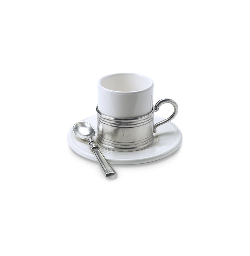 Match Pewter Espresso Cup with Ceramic Saucer, Set of 2