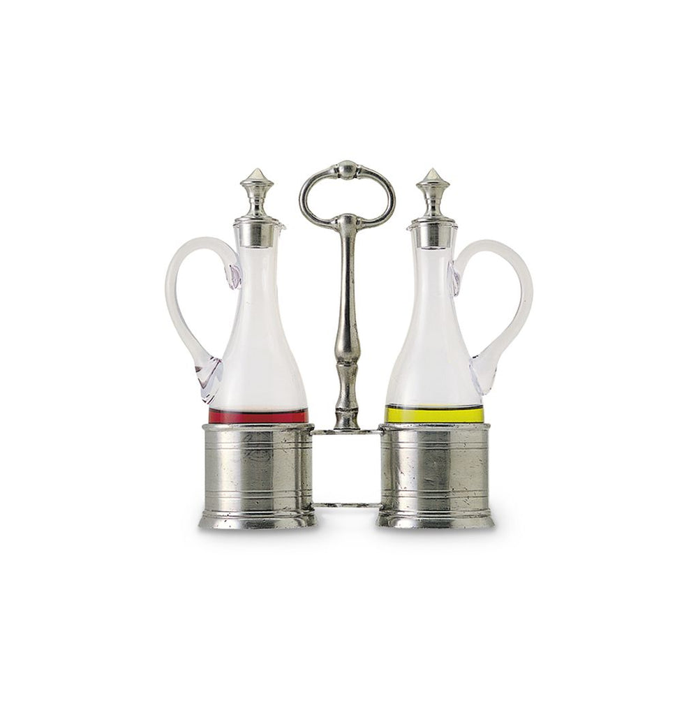 Match Pewter Oil & Vinegar Set with Pewter Tops